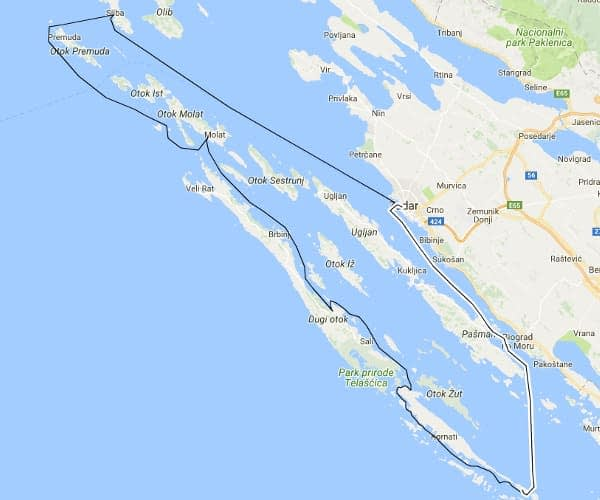 Zadar archipelago charter route suggestion