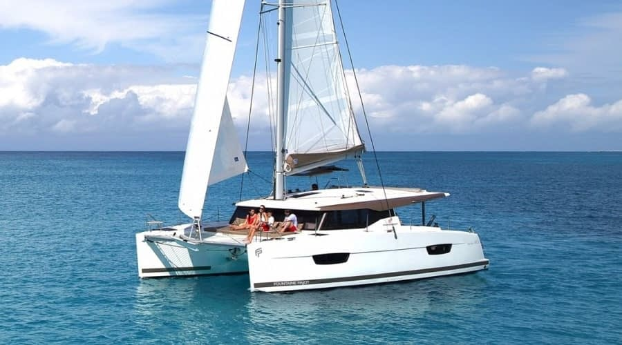 Catamaran rent croatia Fountain Pajot Lucia 40 Shanti 1 catamaran yacht charter Croatia dalmatia skippered yacht cruise sailboat multihull vessel sailing holidays Adriatic