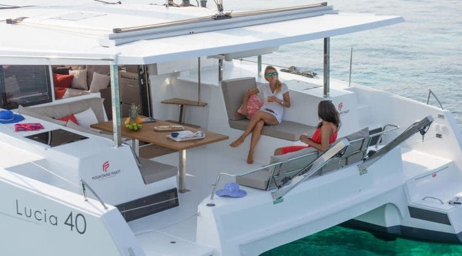 Catamaran rent croatia Fountain Pajot Lucia 40 Shanti 6 catamaran yacht charter Croatia dalmatia skippered yacht cruise sailboat multihull vessel sailing holidays Adriatic