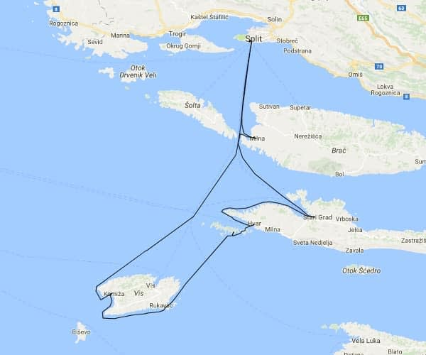 Split - Vis charter route suggestion-map catamaran charter Croatia Catamaran rent Croatia skippered yacht cruise sailboat multihull vessel