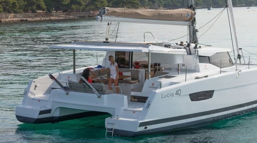 Catamaran rent croatia Fountain Pajot Lucia 40 Shanti 5 catamaran yacht charter Croatia dalmatia skippered yacht cruise sailboat multihull vessel sailing holidays Adriatic